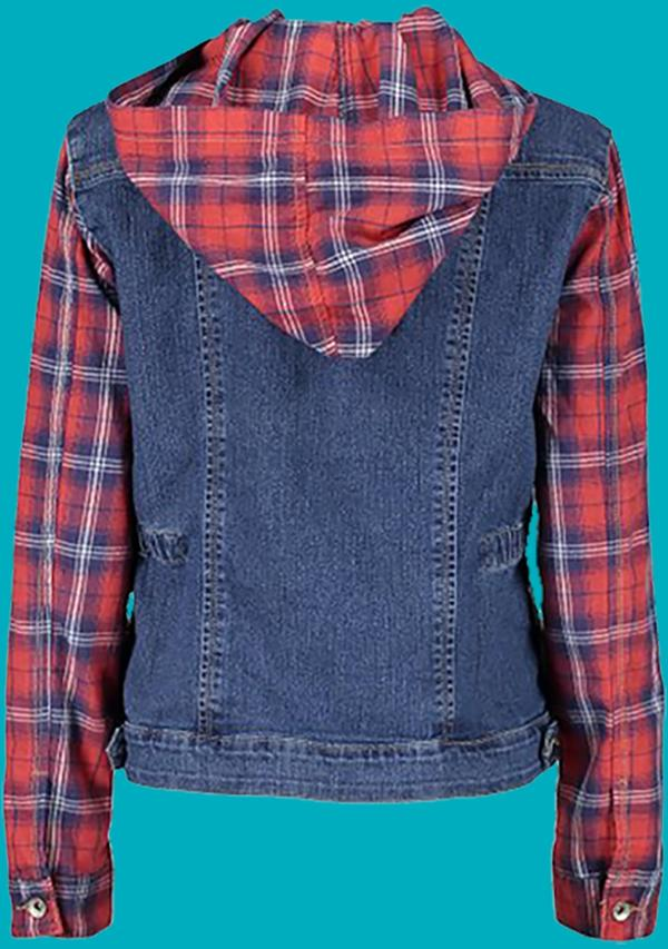 Demin and Plaid Jacket with Hood