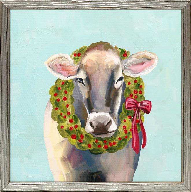 Cow with Wreath Framed Canvas