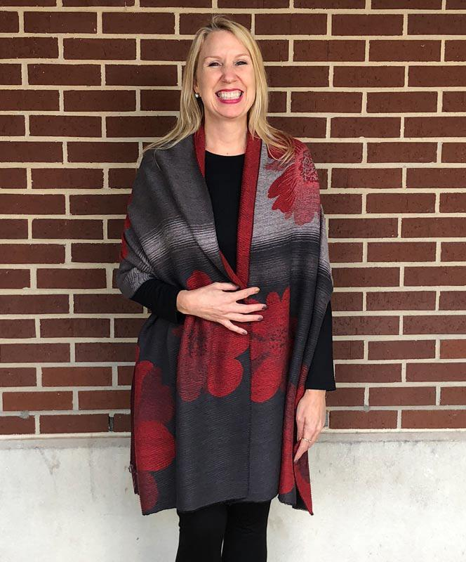Reversible Burgundy and Black Scarf