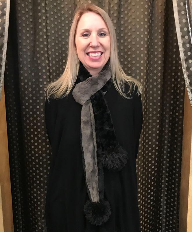 Black and Gray Skinny Scarf with Poms