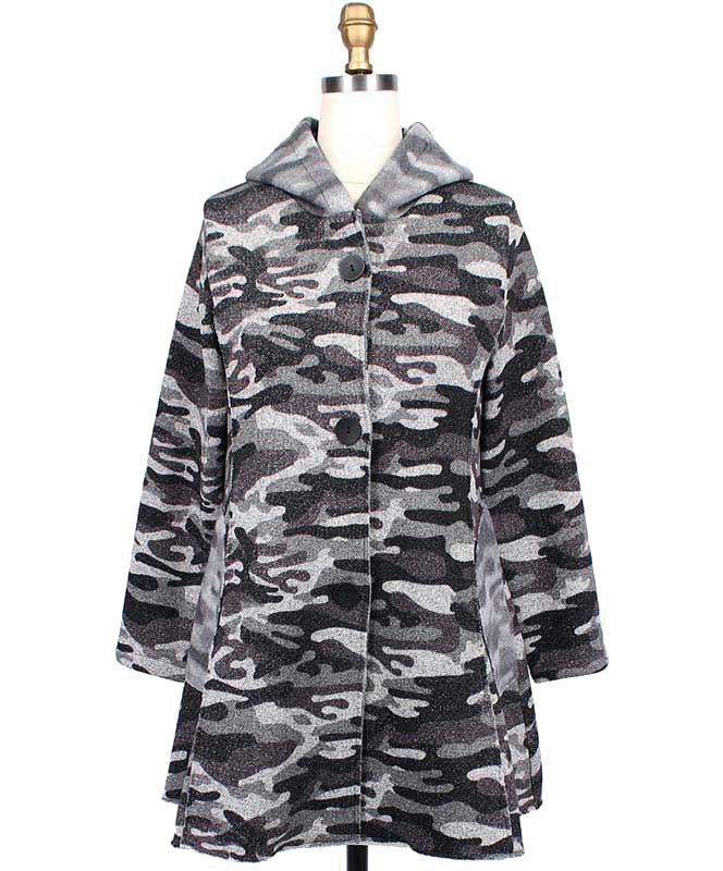 Gray Camo Print Hooded Jacket