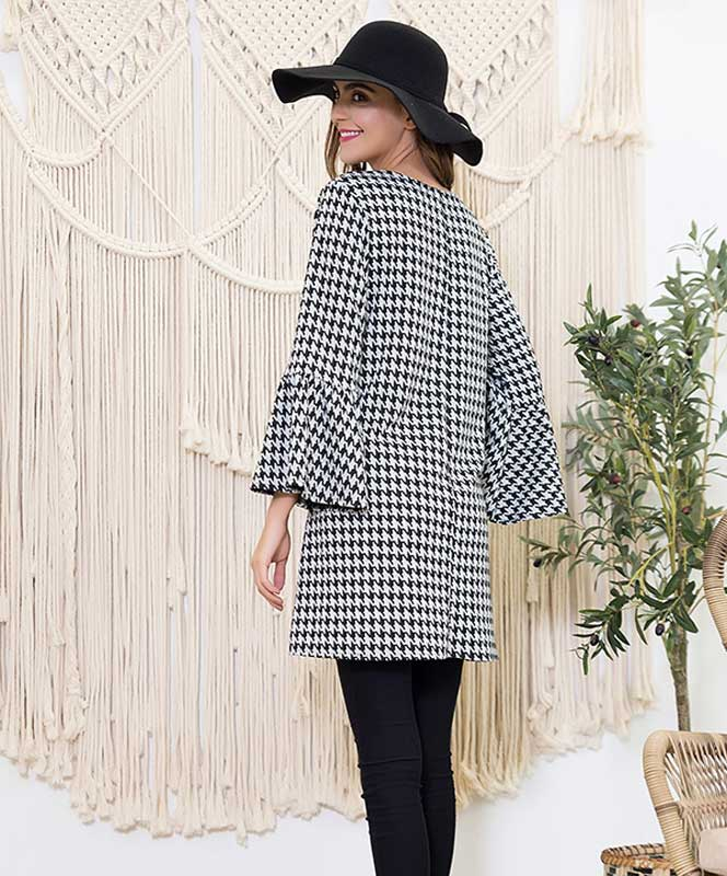 Houndstooth Bell Sleeve A-line Dress