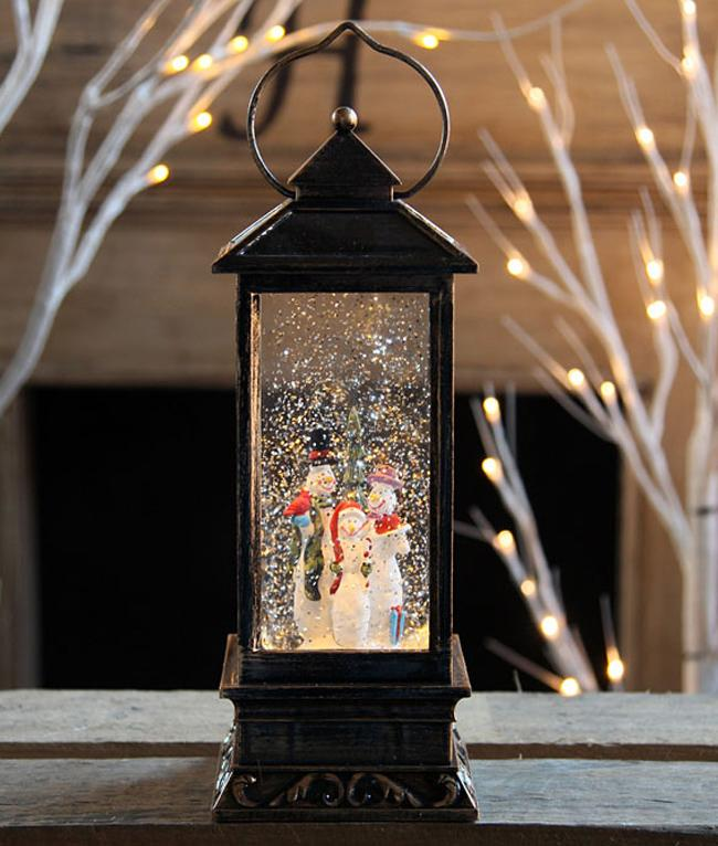 Snowman Family Lighted Water Globe
