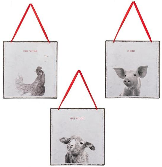 Pig Rooster Lamb Wall Hangings