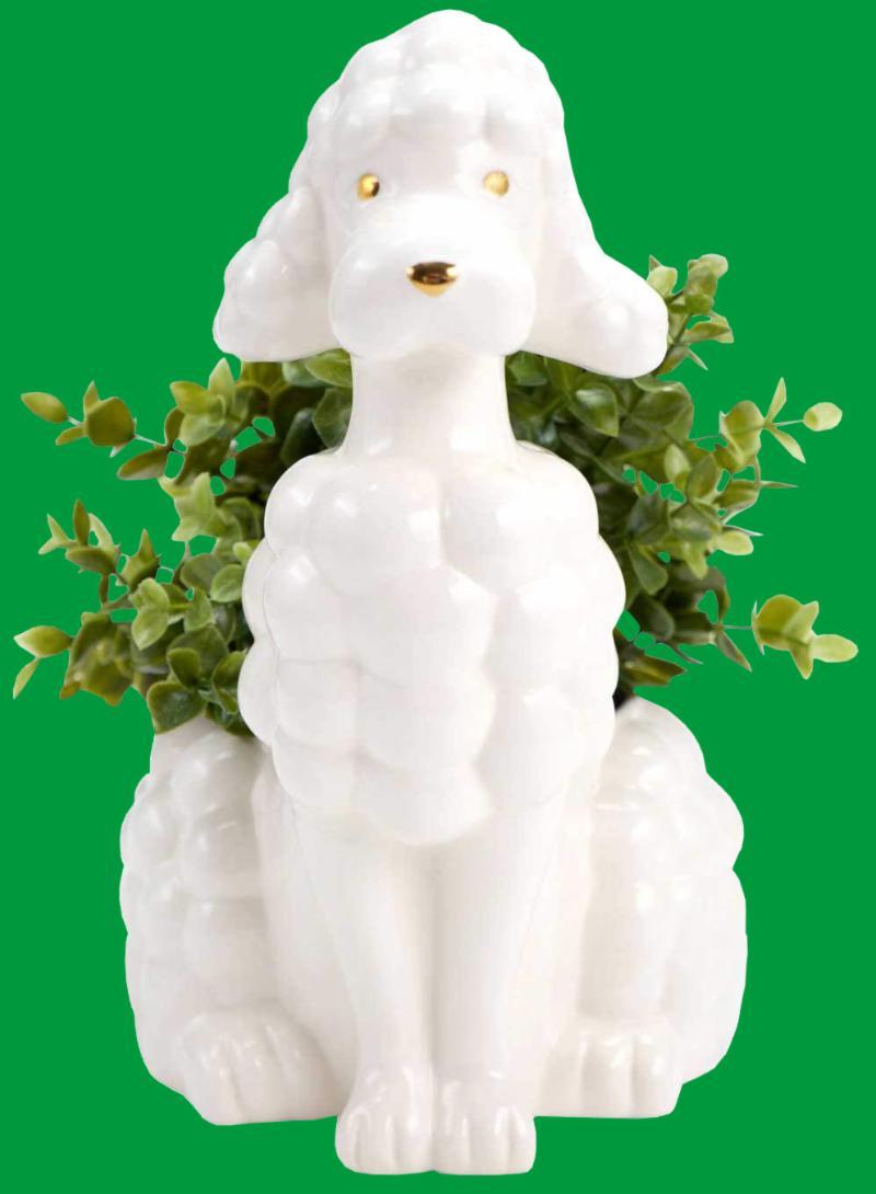 White Poodle Planter