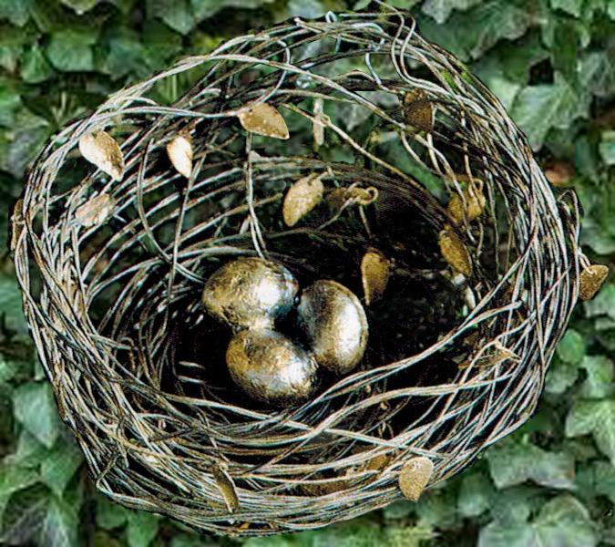 Wire Nest with Leaves and Silver Gold Leaf Eggs