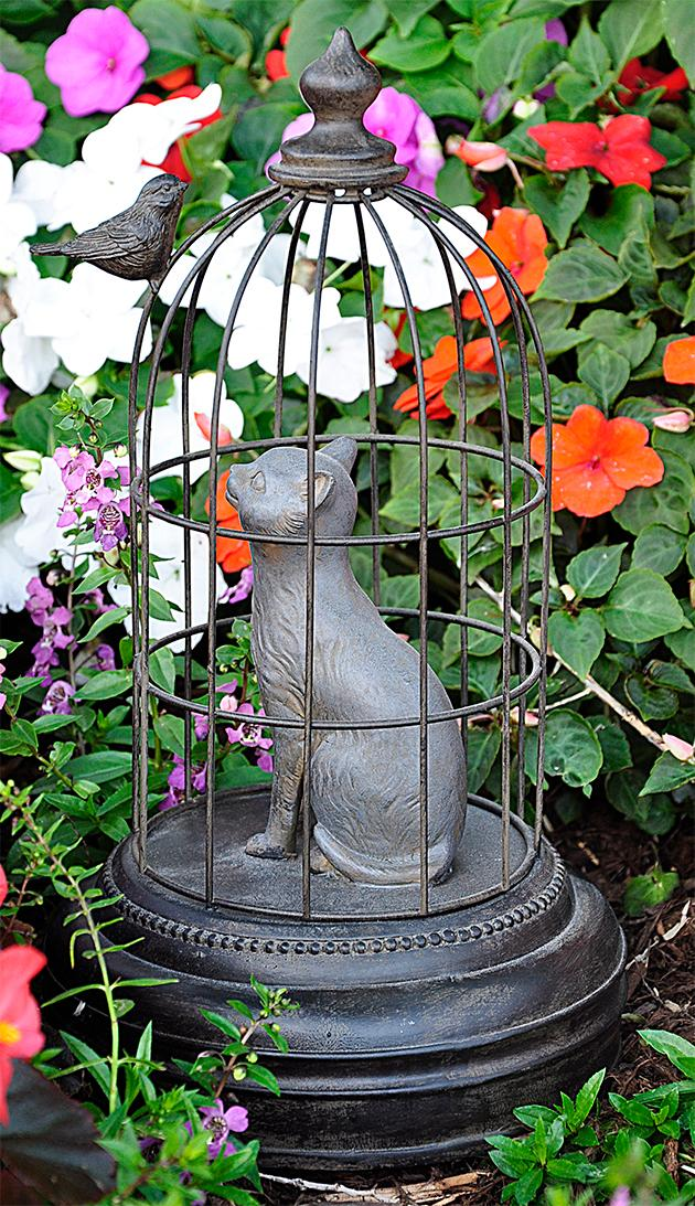 Cat in Cage with Bird Outside
