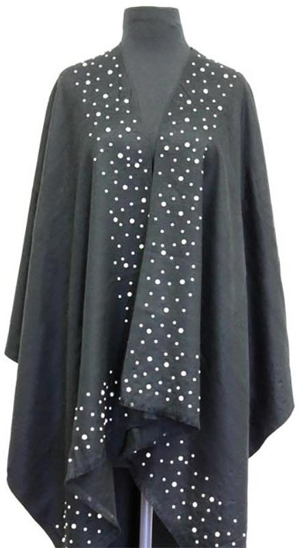 Black Poncho with Pearls