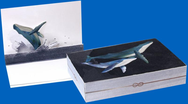 UWP Luxe Pop-Up Note Cards - Whales