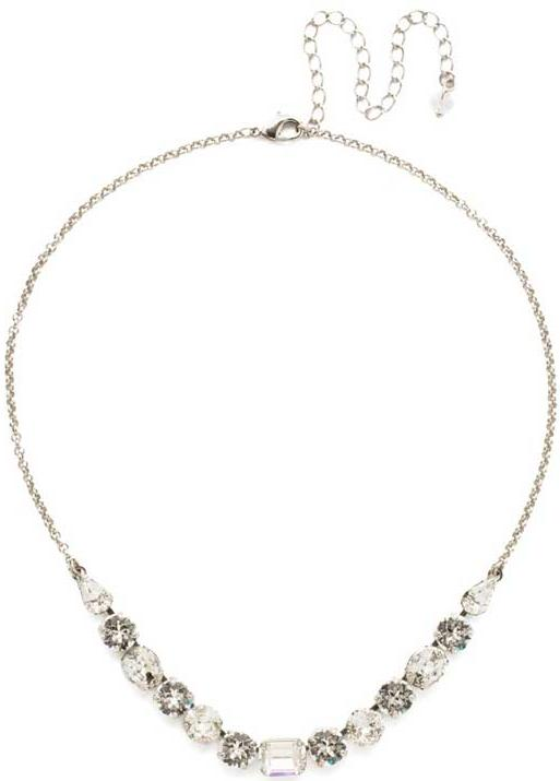 Antique Silver Tansy Half Line Clear Crystal Necklace