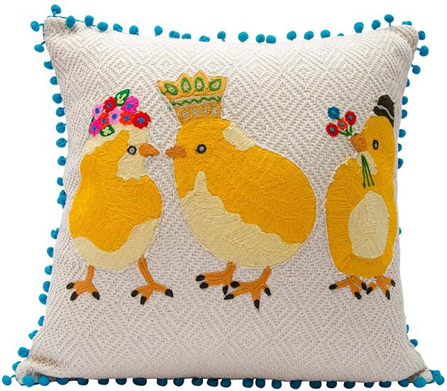 Three Chicks Gathering Embroidered Pillow
