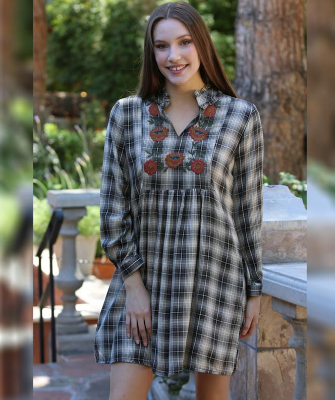 Plaid Tunic with Floral Embroidery