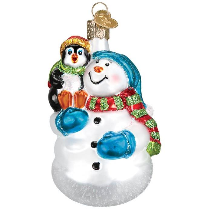 Old World - Snowman with Penguin Pal