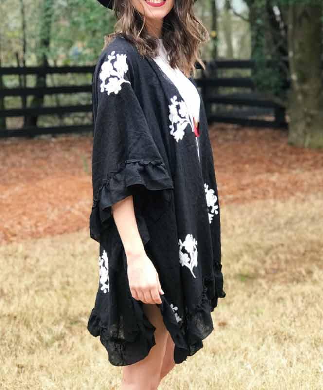 Black Ruffle Kimono