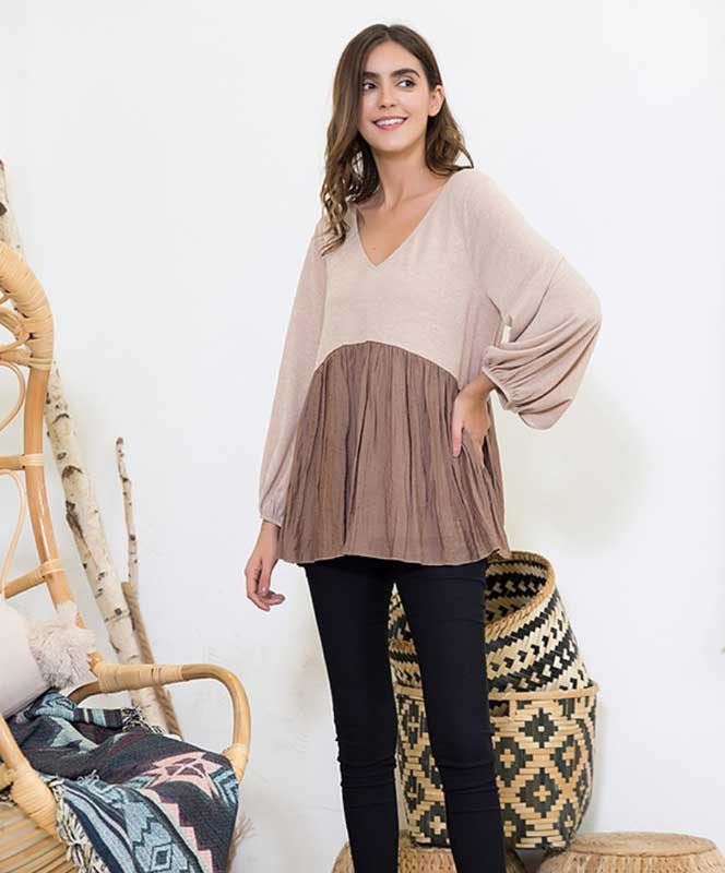 Mocha and Taupe Babydoll Blouse