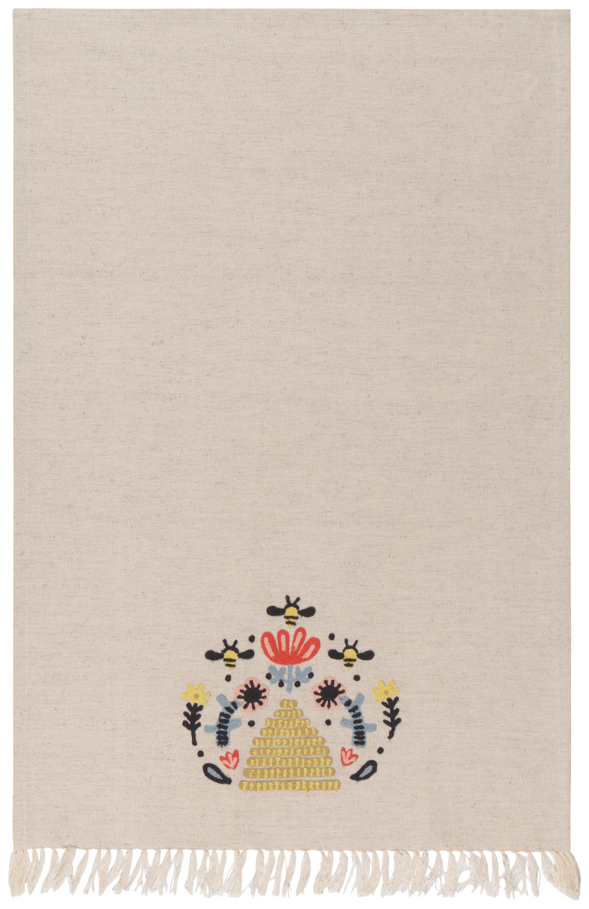 Embroidered Bee Hive Tea Towel
