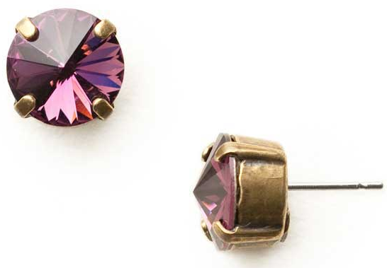 Radiant Rivoli Amethyst Crystal Stud Earrings