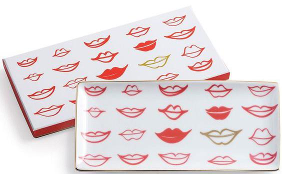 Red and Gold Lips Trinket Tray