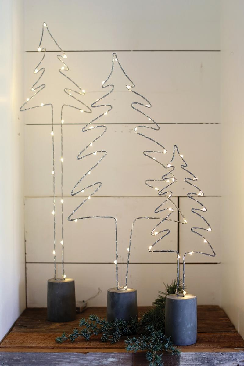 Lighted Wire Christmas Trees