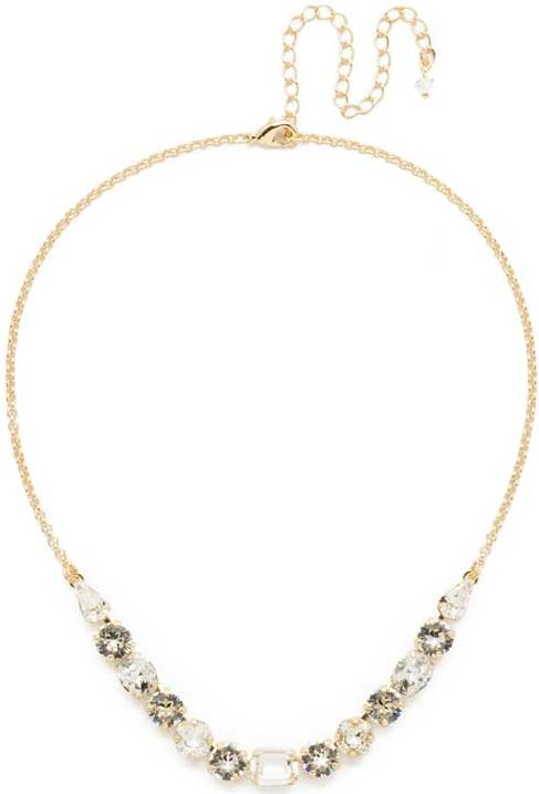 Bright Gold Tansy Half Line Clear Crystal Necklace
