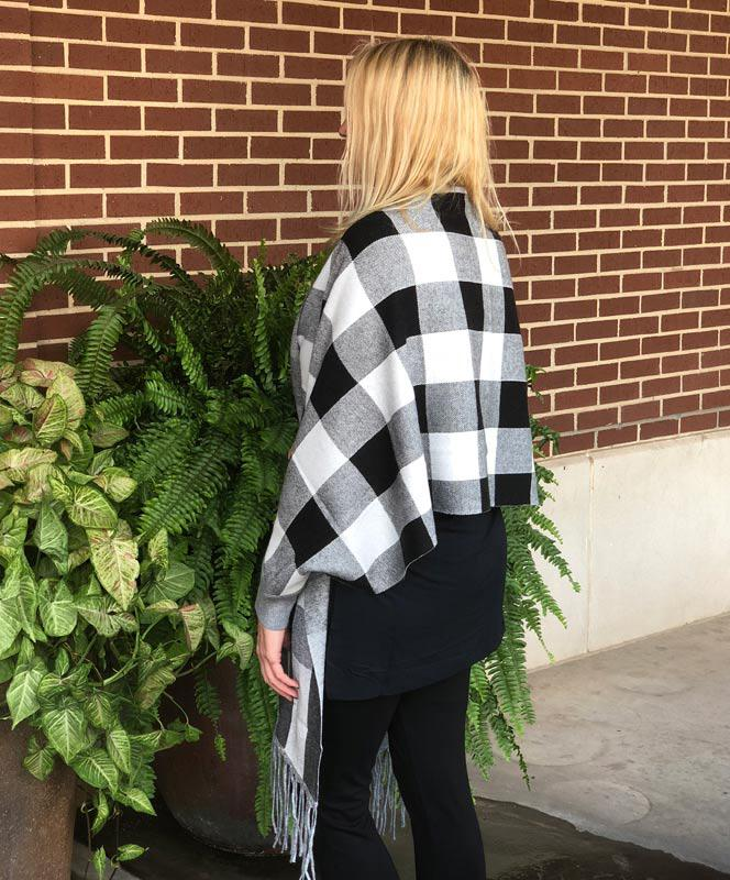 Black and White Plaid Cape with Sleeves