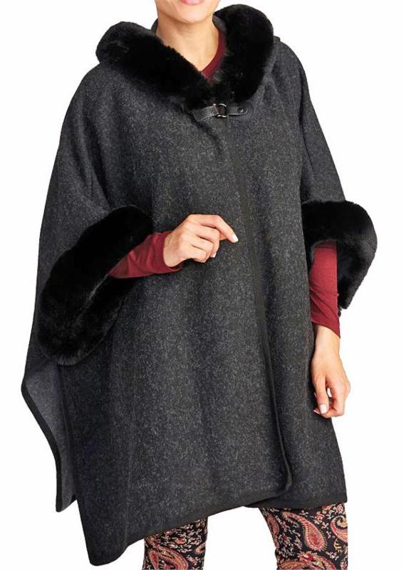 Charcoal Faux Fur Hoodie Cape