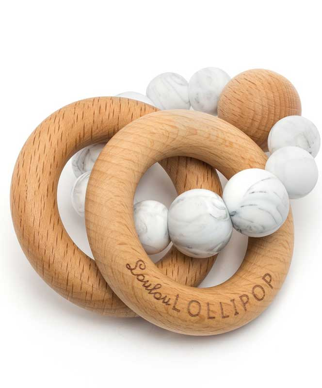 Marble Bubble Silicone and Wood Teether