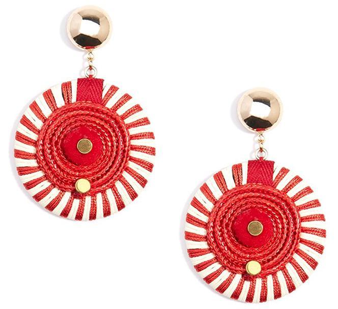 Striped Red Pinwheel Drop Earrings