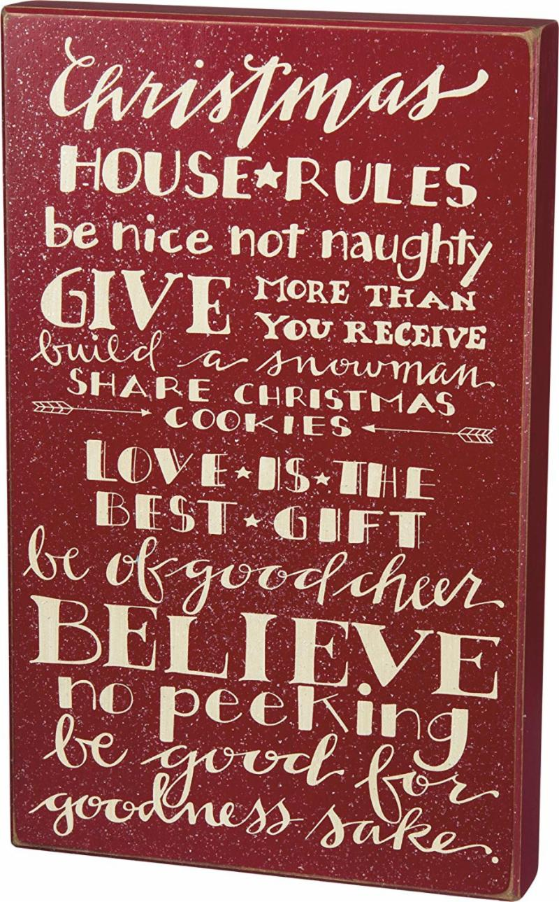 Christmas House Rules Wooden Sign