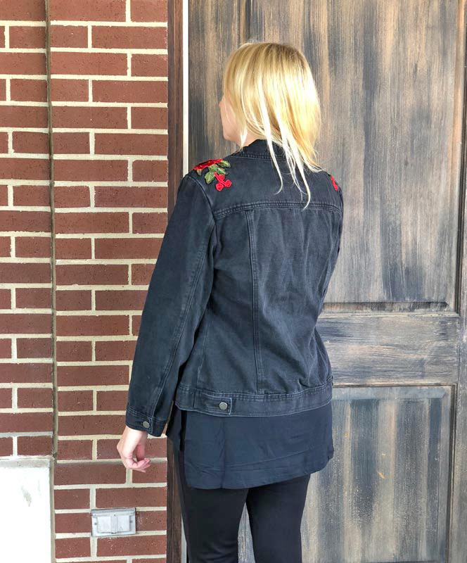 Black Demin Jacket with Roses