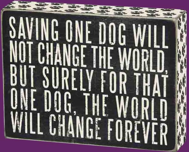 Wooden Sign - Saving One Dog