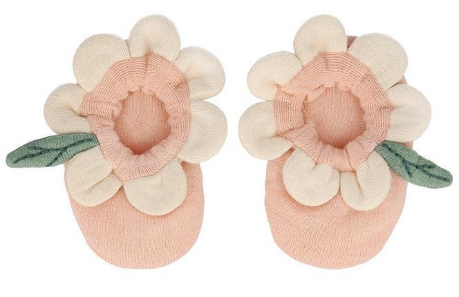Peach Daisy Baby Booties