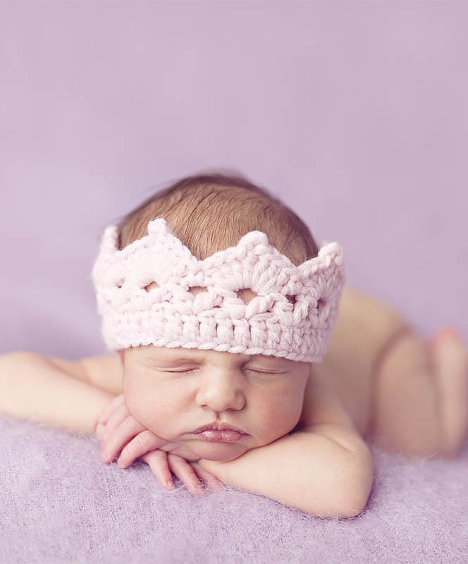 Pink Newborn Knit Crown