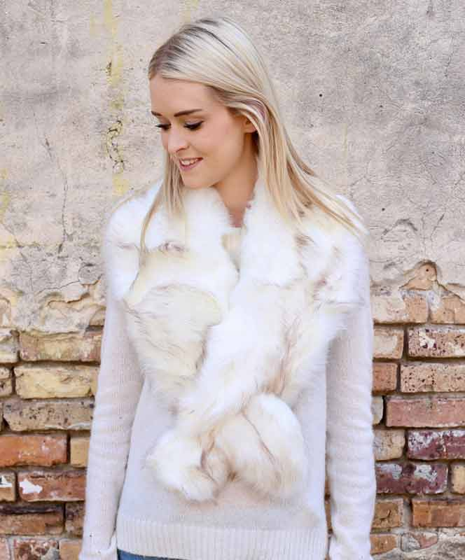 Susanna Faux Fur Shawl - Ivory