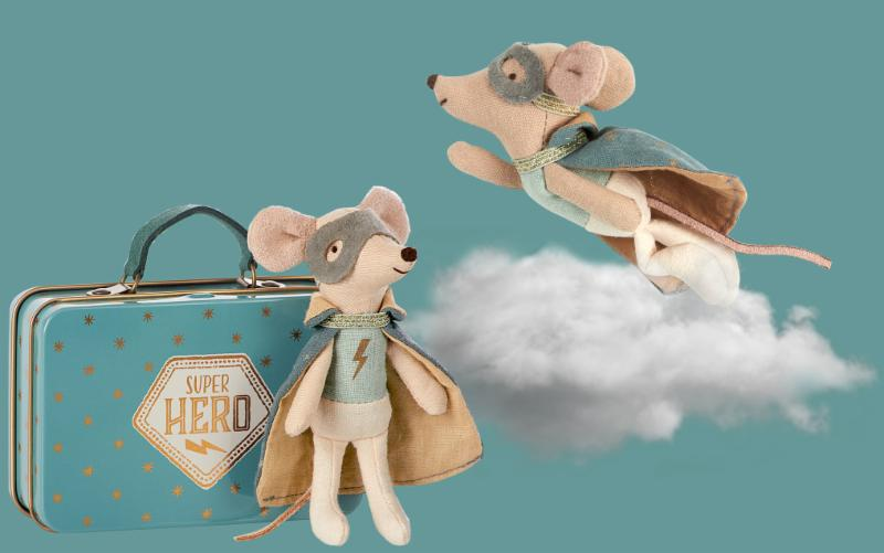 Maileg - Guardian Hero Mouse in Suitcase