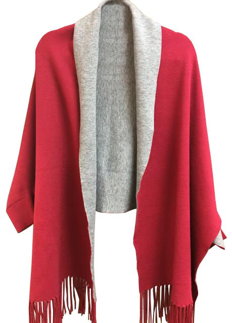 Red and Grey Reversible Cape
