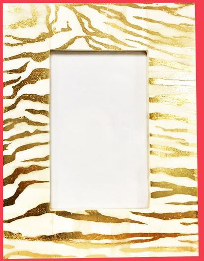 Bone & Gold Zebra 4x6 Photo Frame