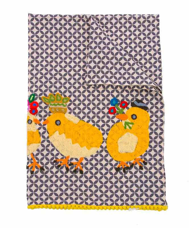 Embroidered Three Chicks Gathering Tea Towel