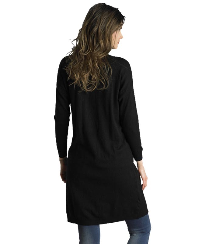 Open Front Black Sweater