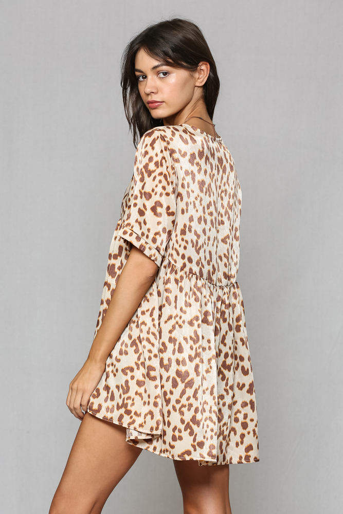Leopard Print Satin Baby Doll Tunic