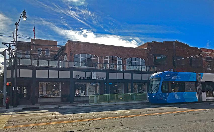 OKC Streetcar in front of Painted Door