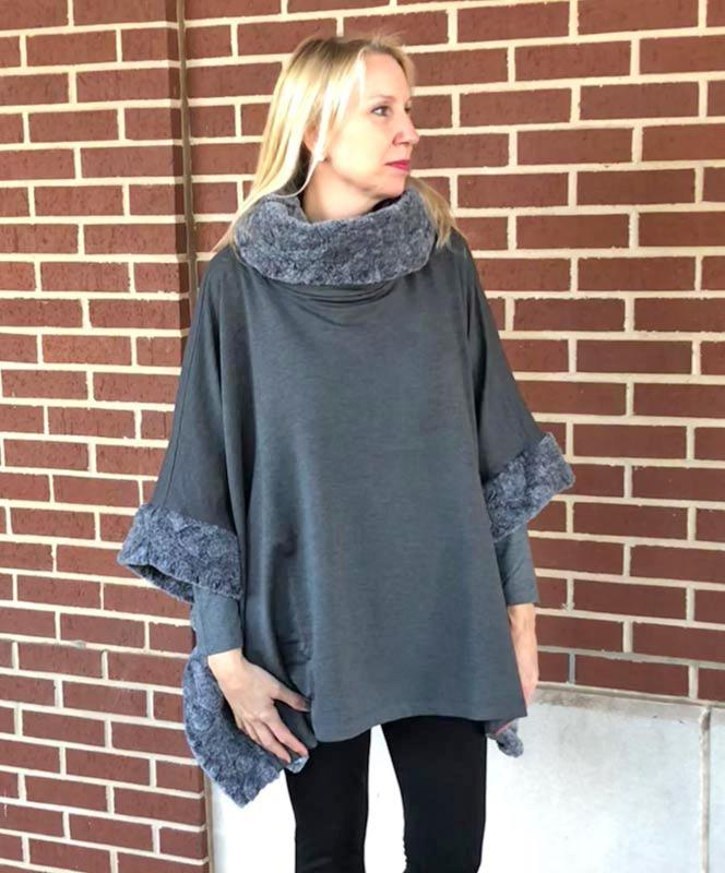 Gray Bamboo Cape with Fur Collar