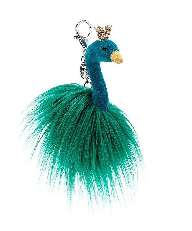 Fluffy Fancy Peacock Keychain