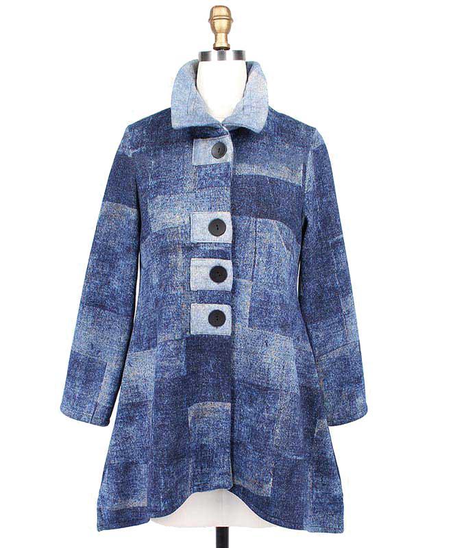 Vintage Block A-Line Denim Blue Jacket