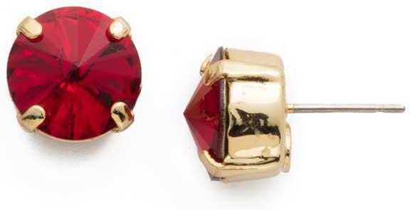 Sorrelli - Round Siam Crystal Stud Earrings