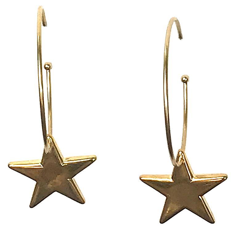 Gold Hoop with Star Earrings