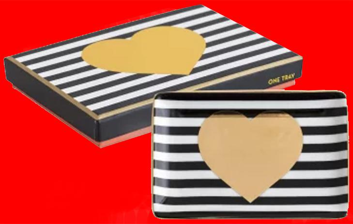 Black Striped Gold Heart Tray