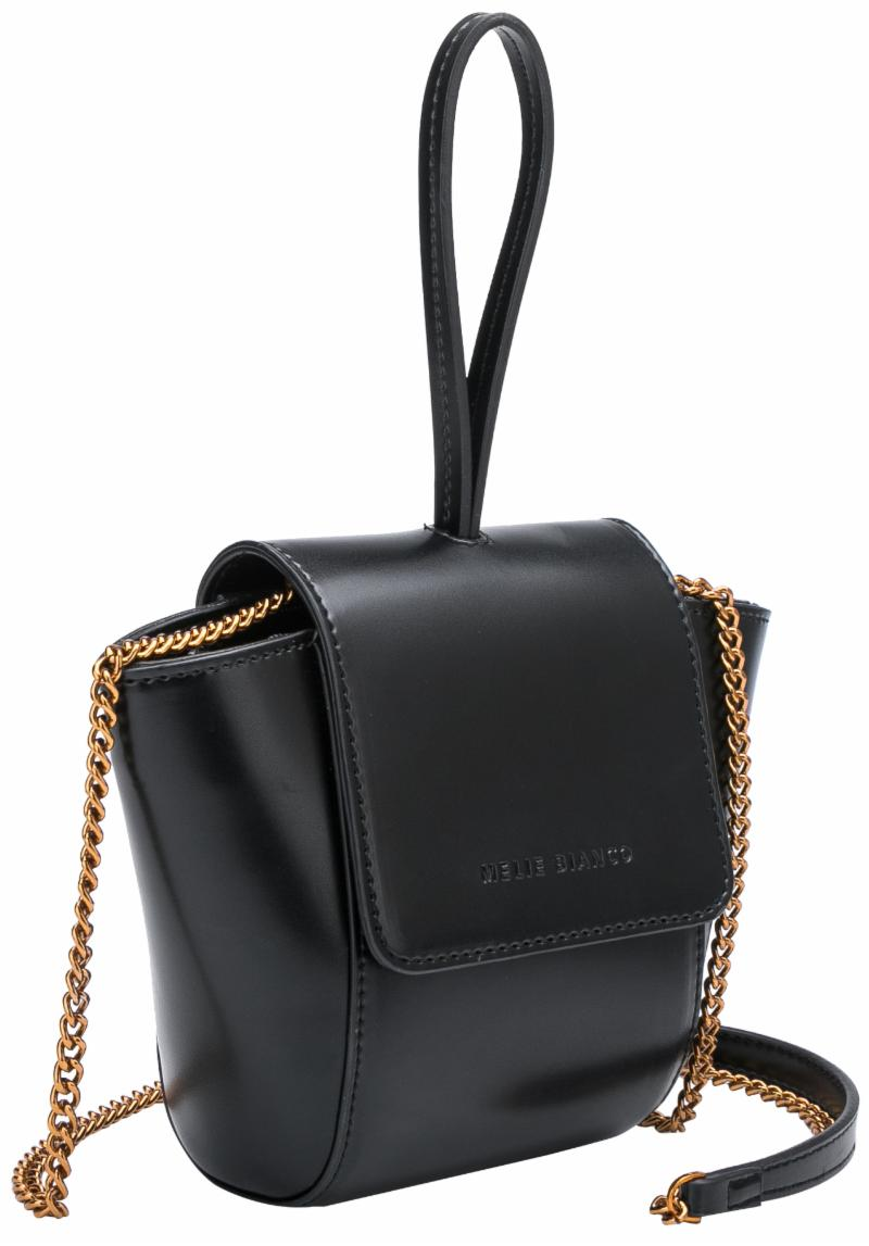 Small Black Bucket with Gold Chain Strap