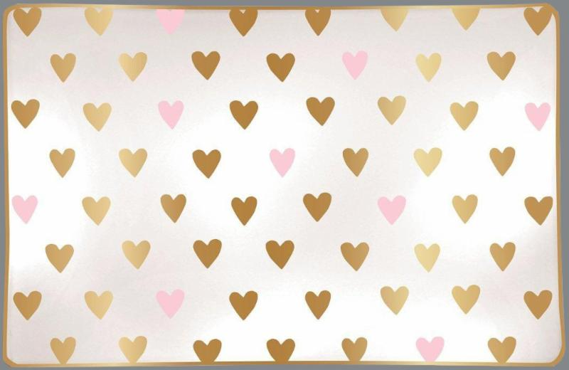 Pink Gold Hearts Trinket Tray