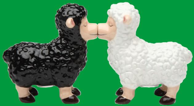 Kissing Ewe Salt & Pepper Shakers